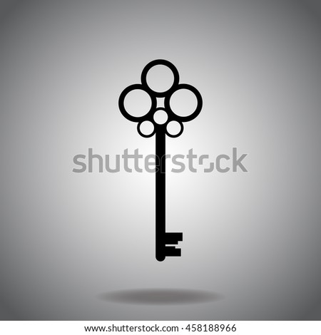 Key icon vector. Flat icon on gray background. Simple illustration.