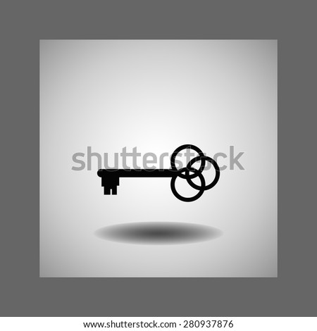 Key  icon, vector illustration. Flat design style - stock vector