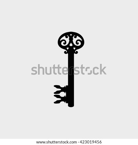 Key Icon Vector Illustration.  Key Icon Graphic. Key Icon picture. Icons Of Key Sign. Vintage Key icon in the flat style.