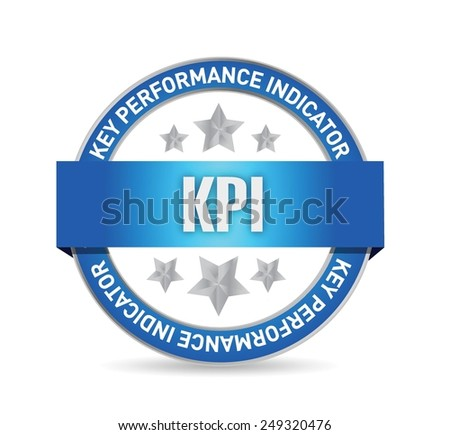 key performance indicator seal illustration design over a white background - stock vector