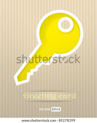Key postcard vector illustration - stock vector