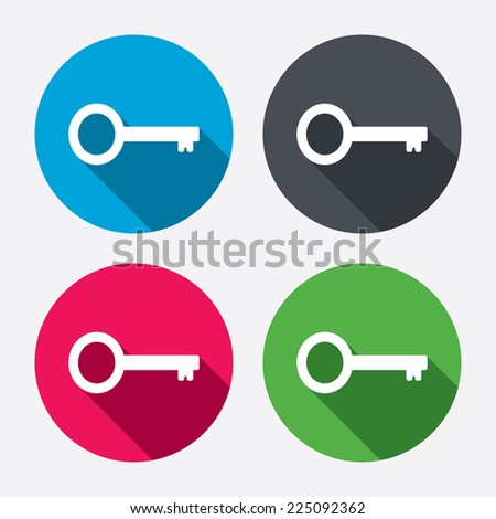 Key sign icon. Unlock tool symbol. Circle buttons with long shadow. 4 icons set. Vector - stock vector