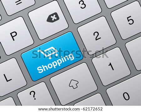 key to access the shopping cart on the keyboard - stock vector