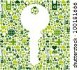 Key to green environment silhouette made with eco friendly icons collection. Vector file available. - stock photo