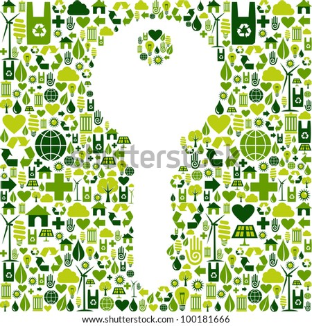 Key to green environment silhouette made with eco friendly icons collection. Vector file available. - stock vector