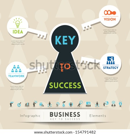 Key to Success in Business Keyhole Conceptual Illustration with Icons - stock vector