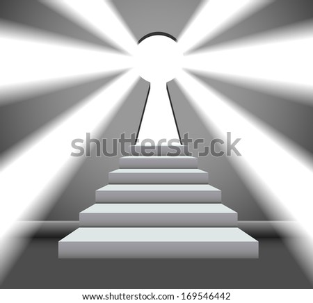 Key to success with an open keyhole to a bright future - stock vector