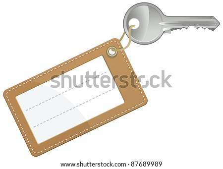 Key with blank text label isolated on white background - vector - stock vector