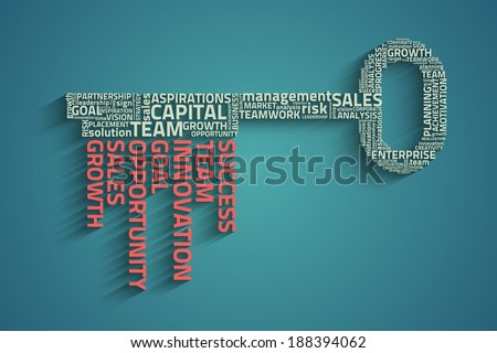 key with business words, eps10 vector concept - stock vector