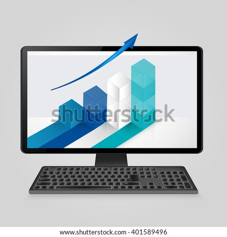 Keyboard and computer monitor with growing bar graph and arrow on screen. analysis business, finance, statistics concept.Vector illustration.