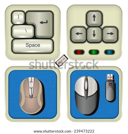 keyboard and mouse icons. EPS 10 illustration. - stock vector
