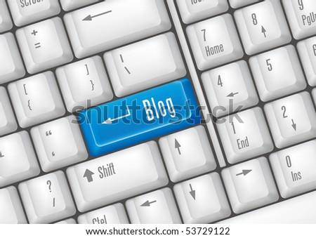 keyboard buttons - blog - stock vector