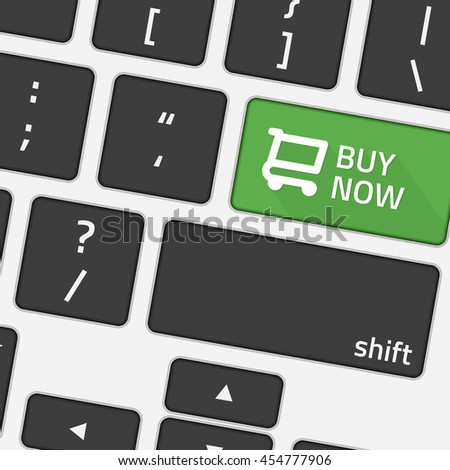 Keyboard buy now. Vector illustration of message on keyboard enter key. The buy now button on the keyboard. Online shopping concepts. - stock vector