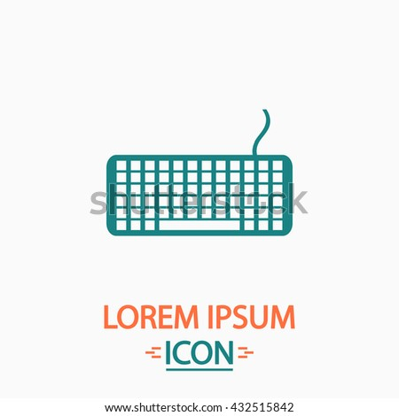 Keyboard Flat icon on white background. Simple vector illustration - stock vector