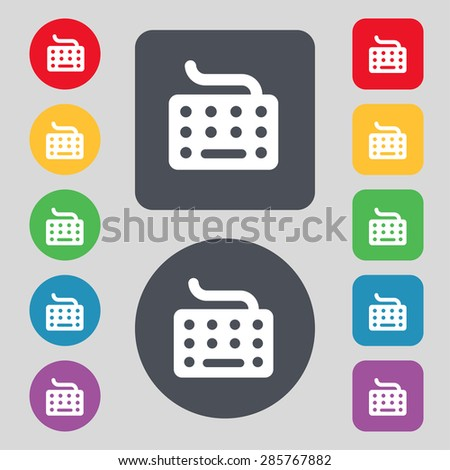 keyboard icon sign. A set of 12 colored buttons. Flat design. Vector illustration - stock vector