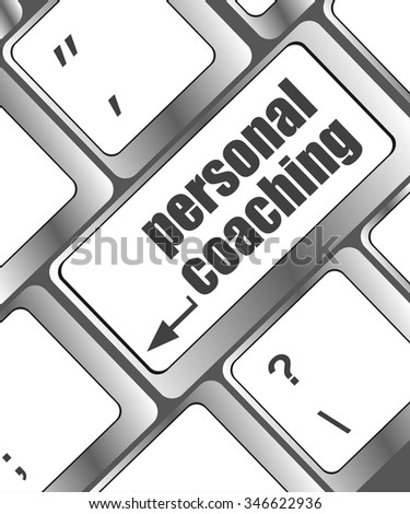 Keyboard key with enter button personal coaching vector illustration