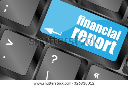 keyboard key with financial report button, vector illustration - stock vector