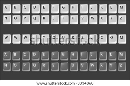 Keyboard Keys Vector, Fully editable text on keys. Every letter for your usage.