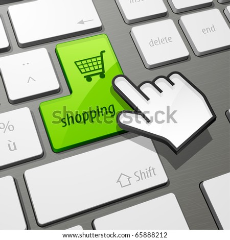 keyboard shopping - stock vector