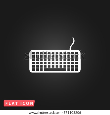 Keyboard. White flat simple vector icon on black background. Icon JPEG JPG. Icon Picture Image. Icon Graphic Art. Icon EPS AI. Icon Drawing Object. Icon Path UI - stock vector