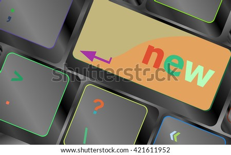 Keyboard with hot key with new word vector keyboard key. keyboard button. Vector illustration. Keyboard keys. Keyboard button. Keyboard icon. Vector keyboard flat icon - stock vector