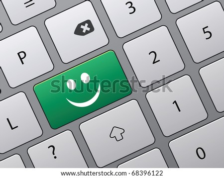 keyboard with icons to vote in on-line survey - stock vector