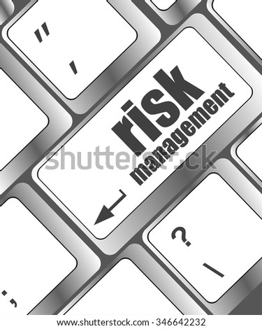 Keyboard with risk management button, internet concept vector illustration - stock vector