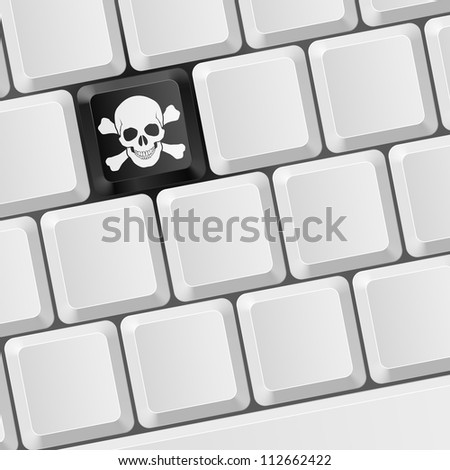 Keyboard with Skull button. Illustration for design - stock vector