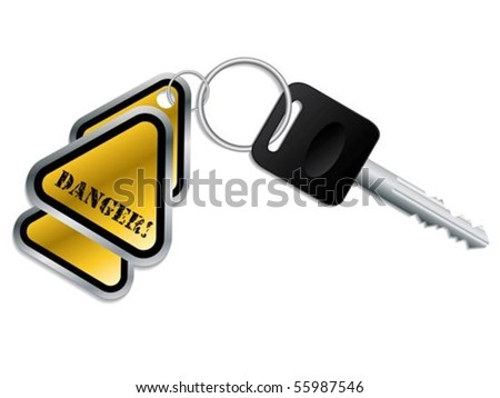 Keyholder with danger text chained to key - stock vector