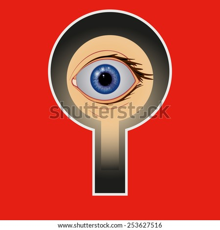 Keyhole. Frightened man looks through the keyhole eyes wide open. - stock vector