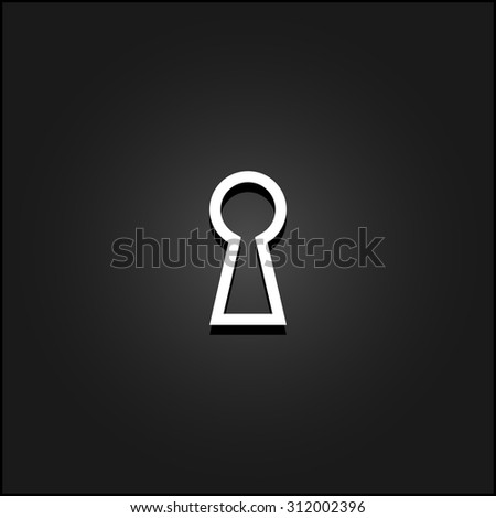 Keyhole. White flat simple vector icon with shadow on a black background - stock vector