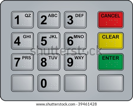keypad of an automated teller machine - stock vector