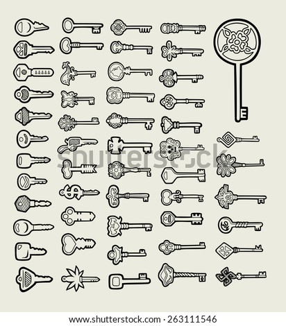 Keys icon sketch vector. Useful hand drawing objects. Good use for any design you want. Easy to use, edit, or change color. - stock vector