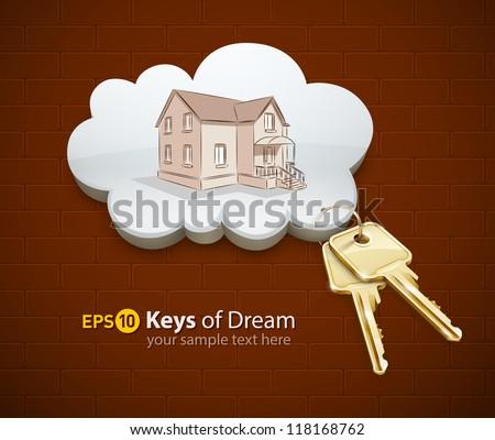 keys of dream house in the cloud vector illustration EPS10. - stock vector