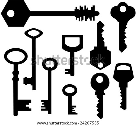 Keys silhouettes - stock vector