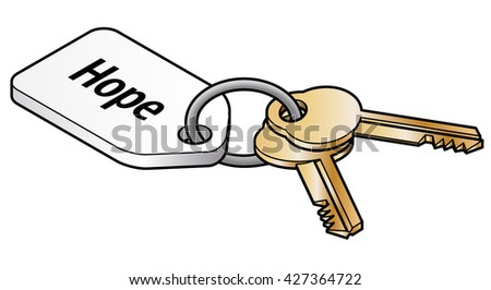 Keys to hope concept. Two brass keys on key ring with a white tag. - stock vector