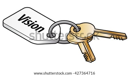 Keys to vision concept. Two brass keys on key ring with a white tag. - stock vector