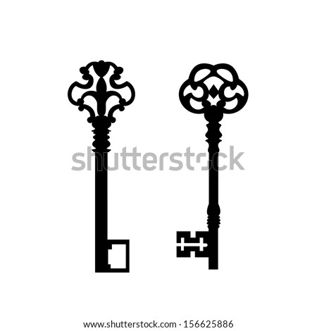 Keys with decorative elements - stock vector