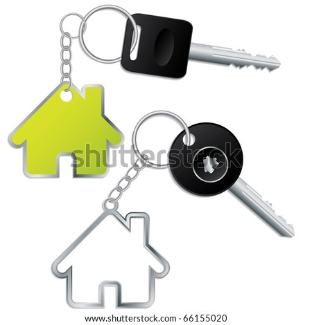 Keys with house shaped keyholders - stock vector