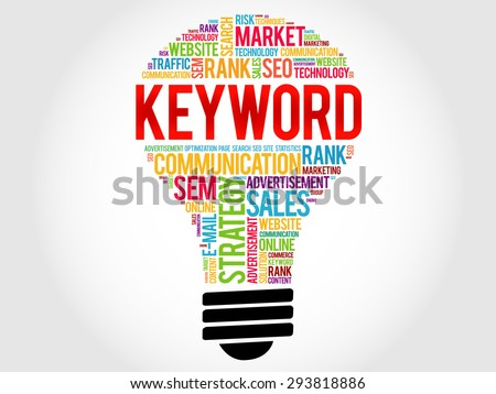 KEYWORD bulb word cloud, business concept - stock vector