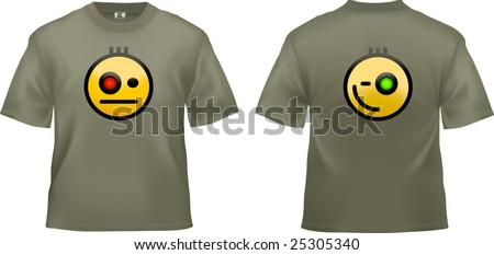 Khaki T-shirt unisex template (illustration redesigned, a lot of details were added!). Military design can be easily changed to your identity. - stock vector