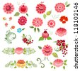 Khokhloma floral set - stock vector