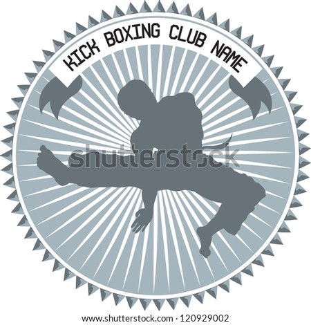 kick boxing or martial art logo with text and ribbon - stock vector