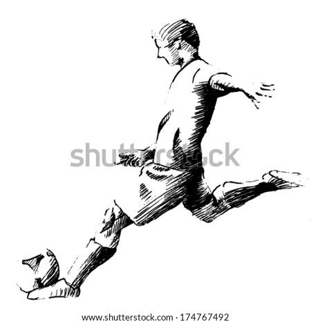 kicking the ball - stock vector