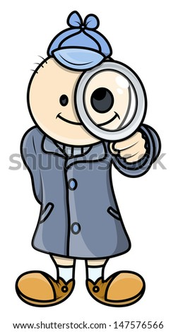 Kid Act Like Detective - Vector Illustrations - stock vector