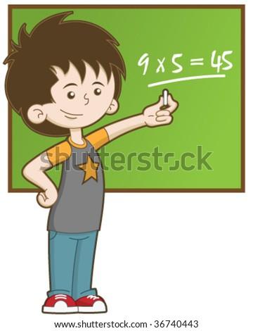 Kid at School - stock vector