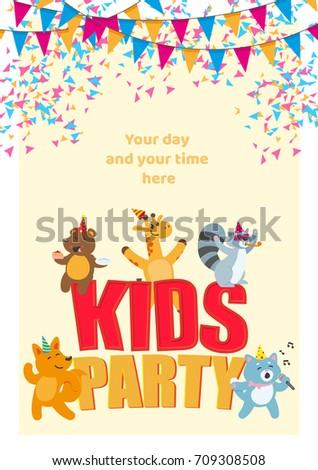 kid birthday party poster banner card のベクター画像素材