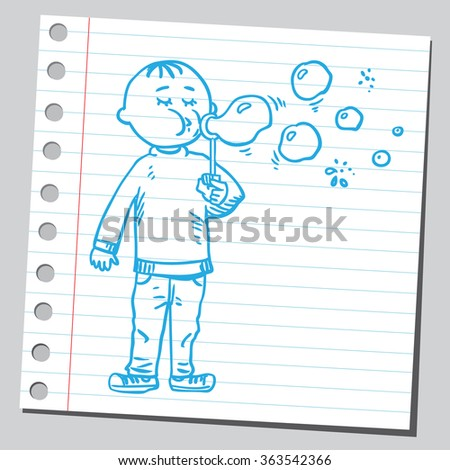 Kid blowing soap bubbles - stock vector