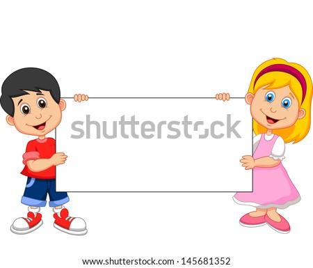 Kid cartoon with blank sign - stock vector