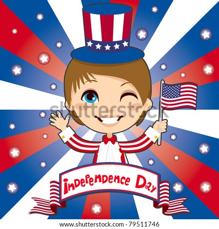Kid celebrating United States of America Independence Day wearing a Uncle Sam costume and holding a flag - stock vector